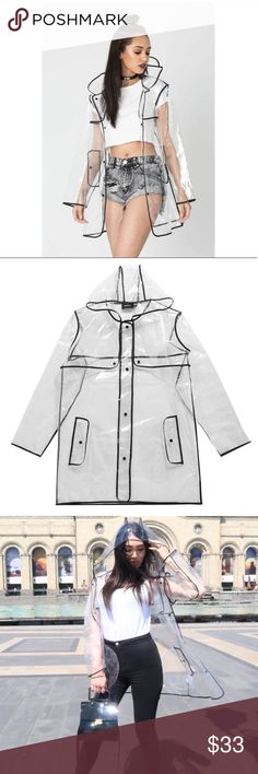 Clear PVC Raincoat High Fashion Coat Jacket New Super unique raincoat featured in high fashion magazines/runway shows. Outlined in black, the raincoat features a hoodie, faux pockets, and comes in its own plastic bag for easy maneuvering.   Material: PVC.   Measurements: **ONE SIZE fits most.  Sleeve Length (cm):	56cm Length (cm):	82cm Bust (cm):	120cm Shoulder (cm):	46.5cm Wild Eclectic Jackets & Coats
