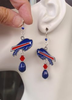Buffalo Bills Earrings, Bills Jewelry, Blue Pearl, Red and Clear Crystal Earrings, Pro Football Bills Bling Accessory Fanwear by scbeachbling on Etsy