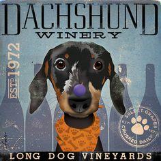 DACHSHUND winery vintage style original by geministudio on Etsy, $80.00
