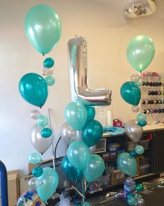 Tonal Bubble Strands and Megaloon Letter arrangement - in Pearl Teal, Mint Green and Silver. LOVE IT!