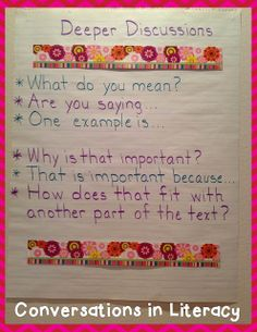 Deeper Discussions Anchor Chart: creating accountable talk with students for the common core Partner Reading, Teaching Reading, Guided Reading, Education And Literacy, Literacy Activities, Special Education, Classroom Charts, Classroom Helpers, Science Classroom