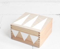 hand painted wooden box with triangles