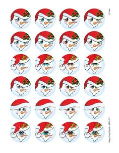 Snowmen faces with hats Set 1 1 30 mm image 1 Christmas Rock, Diy Christmas Ornaments, Christmas Projects, Christmas Snowman, Christmas Labels, Winter Christmas, Circle Face, Diy Plastic Bottle, Hand Painted Gourds