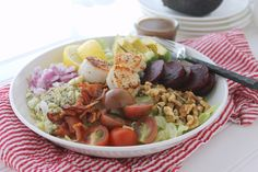 Seared Scallop Cobb Salad via JennySheaRawn.com Healthy Stew Recipes, Healthy Soup, Cape Cod Kitchen, Garden Tomatoes, Seared Scallops, Macaroni Salad, Salad Dressing Recipes, Salad Ingredients, Blue Cheese