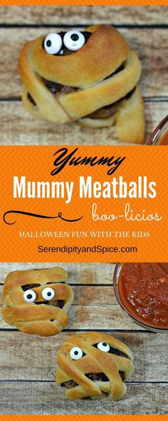 Mummy Meatballs Recipe- Halloween Snack for Kids ~ Spooky Food - Halloween Food Dish - Toddler Treats - Healthy Treat - Easy Recipe http://serendipityandspice.com