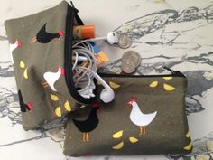 """NEW Retro Chickens Fabric and Oilcloth Zipper Pouch Coin Purse Coin Pouch Cosmetic Bag Wet Bag 3.5"""" x 5.5"""""""