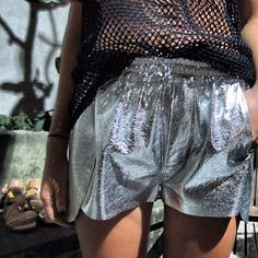 SS13 - Silver leather jogging shorts and mesh tee | arriving Septemeber at @joyhystericboutique email customercare@thejoystores.com to pre-order (at www.thejoystores.com)