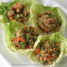 A Little Bit Crunchy A Little Bit Rock and Roll: Edamame and Quinoa Lettuce Wraps with Soy Garlic Chili Sauce