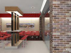Ресторан быстрого питания: интерьер, современный, модернизм, ресторан, кафе, бар, барная стойка, стена, 100 - 200 м2 #interiordesign #modern #restaurant #cafeandbar #barcounter #wall #100_200m2 arXip.com