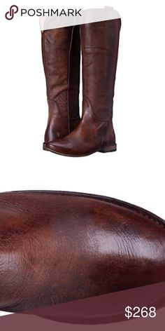 """FRYE """"Paige"""" Tall Riding BOOTS Brown LEATHER With overlapping front panels and intricate stitching, this standout riding boot boasts a unique, artisanal look. Made of beautiful leather, that's been washed and antiqued for a well-worn look!! Mini pull tabs and notched back are some of the finer details. These boot are in gorgeous, preloved condition in a distressed, weathered """"antiqued"""" dark brown color/was.   - Italian Leather in """"Antiqued"""" Brown - 16"""" Shaft Height/16"""" Shaft Circumference…"""