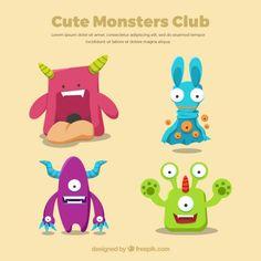 Monstro bonitos dos desenhos animados Vetor grátis
