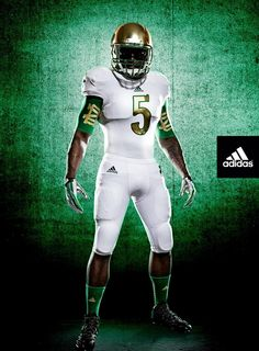 Adidas releases Notre Dame's Shamrock Series uniform for when it takes on Arizona State on October at Cowboys Stadium. Notre Dame Athletics, Notre Dame Football, College Football Uniforms, Sports Uniforms, Adidas Football, Nfl Football, Football Quotes, Football Stuff, Alabama Football