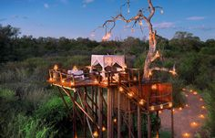Little dinner island by pool. Chalkley Treehouse © Lion Sands Private Game Reserve