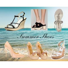 """Summer Shoes"" by minhchau8290 on Polyvore #summer #shoes #summershoes #wedges #black #white #blackwedges #whitewedges #nudeheels #nude #gucci #michaelkors #clogs #woodenclogs #sandals #flatsandals #giuseppezanotti"