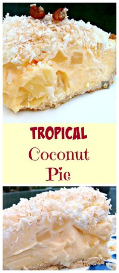 Tropical Coconut Pie - It is so creamy and has a rich coconut flavor, laced throughout with juicy pineapple chunks and a crispy pie crust. Coconut Desserts, Coconut Recipes, Just Desserts, Delicious Desserts, Dessert Recipes, Yummy Food, Yummy Yummy, Delish, Sweet Pie