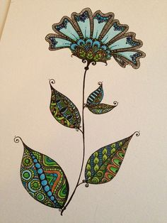 Zentangle Doodle Flower. Inspired by an Art Deco pattern on an antique vase I came across in Pinterest.