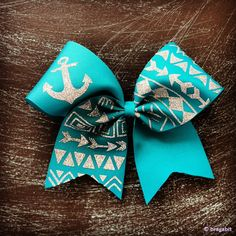 teal tribal print cheer bow