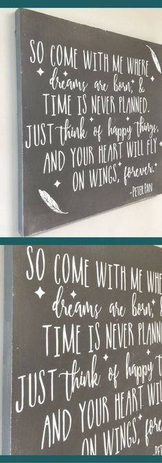 I know this sign is meant for a nursery but I want it above MY bed!  Rustic Nursery Sign, Rustic Nursery Quote, Rustic Bedroom Decor, Rustic Farmhouse Nursery Wall Art, Wedding Signs, Whimsical Decor, Farmhouse Decor, Rustic Nursery Decorations, Baby Shower Gift Ideas, Housewarming Gift Ideas, Bedroom Signs, Modern Farmhouse Nursery, Wedding Gift Ideas, Wooden Nursery Wall Sign, Peter Pan Quote #ad