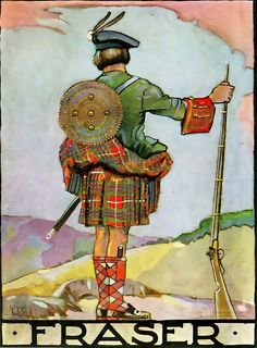 FRASER -print from a little-known book called Clanlands, written & illustrated by William Stewart in 1928 for the London Midland & Scottish Railway Company (LMSR). Stewart's choice of clan subjects corresponds with some of the routes routes operated by the LMSR.