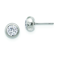 Men's Polished Steel Bezel Set 6MM Clear CZ Post Stud Earrings - Gemologica, A Fine Online Jewelry Store