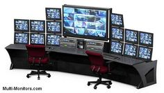 If you are looking for workstation furniture that can match your technological imagination, then find the place for acquiring a set-up that can handle practically limitless display possibilities. Security Room, Home Security Tips, Gaming Room Setup, Computer Setup, Tech Room, Trading Desk, Build A Pc, Safe Room, Basement House