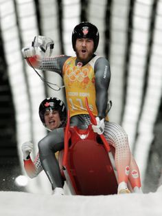 Tristan Walker and Justin Snith of Canada react after a run during the Luge Relay (c) Getty Images Tristan Walker, Olympic Winners, Bobsleigh, Luge, Winter Olympics, Winter Sports, Olympic Games, Skeleton, Skiing
