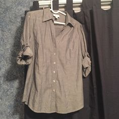 Anne Taylor Button Down Cotton top. Gray color with a blue hue to it. Great condition. LOFT Tops Button Down Shirts