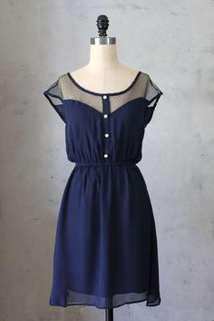 PETIT DEJEUNER - Navy blue chiffon dress with black lace neckline // retro // vintage inspired // nautical // bridesmaid dress on Etsy, $48.00