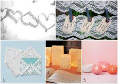 Lace craft tutorials: heart garland, lace adorned seating chart, Lace envelopes, luminaries,and candle holders. Great ideas for weddings! (Or just personal touches)