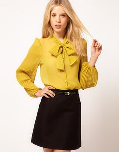 love this!!! mustard blouse with pussybow and gorg. pleated sleeves