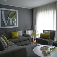 Blanco Interiores - living rooms - Grey, living room, textured wallpaper, white furniture, acid green, chevron, sectional sofas, gray sofa, ...