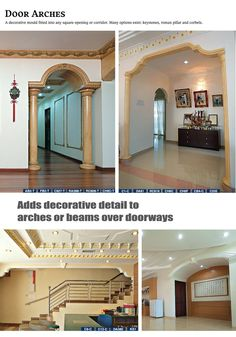 gypsum decoration company in dhaka bangladesh House Front Wall Design, House Arch Design, Front Door Design Wood, 2 Storey House Design, Village House Design, Home Room Design, Archways In Homes, Affordable House Plans, House Design Pictures