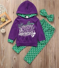 """MERMAID KISSES STARFISH WISHES SWEAT SUIT PRICE $14.99 OPTIONS: 2T, 3T, 4T, 5, 6 To purchase: comment """"sold"""", size & email"""