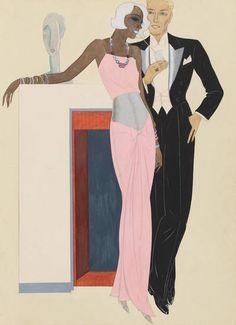 Modezeichnung: Paar in Abenrobe, Modesammlung, Hartung, Gerd, 1932