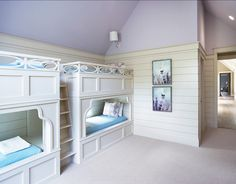 Bunkbed Room. Bunk room for kids. The wall color is Benjamin Moore Spring Violet and the trim color is Sherwin Williams Canvas Tan #BunkRoom #BunkbedRoom #Bunkbed #Kids