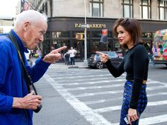 that is awesome! Bill  Mira pointing it out in NYC. #BillCunningham #MiroslavaDuma