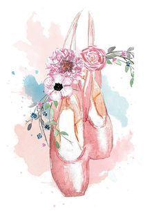 Ballerina-Dancer-En Pointe Printable watercolor by WingedGraphics