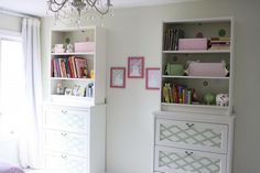 Place the BILLY bookcase on top of the chest of drawers. Then  secure them to the wall to this custom and beautiful furniture that provides TONS of storage. Get the step by step instructions