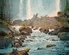Chatterbox II, by Robert Genn Canadian Painters, Canadian Artists, Abstract Landscape, Landscape Paintings, Oil Paintings, Waterfall Paintings, Fantasy Art Landscapes, Art Impressions, Art Photography