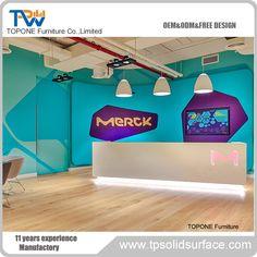 Straight led light salon reception desk table manufacturer