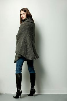 GIPSY PONCHO $245.- crochet plain in dark gray by Espiritu Folk. Knitwear, Folk, Turtle Neck, Gray, Crochet, Sweaters, Collection, Fashion, Ponchos