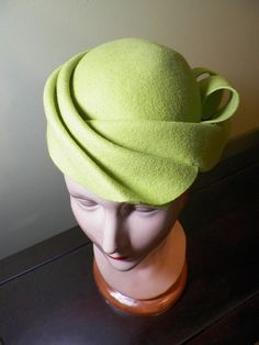 Sculptural Chartreuse Hand Blocked Wool Cocktail Hat by Baubles & Whatnots, SOLD