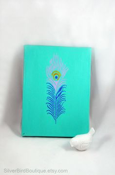 Peacock Feather Painting, Canvas Wall Art, Simple Turquoise Metallic Home Decor, Colorful Aqua Wedding Reception Display, Peacock Decoration by SilverBirdBoutique