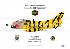 """FAP - Fiat """"Jaguares"""", special tiger delivery for the NATO Tiver Meet, Montijo - Portugal Drones, War Jet, War Thunder, War Image, Aviation Art, Armed Forces, Military Aircraft, Line Drawing, Fiat"""