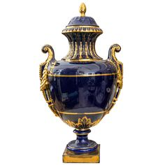 Dramatic  Cobalt Blue and Gold Neoclassic Covered Urn   From a unique collection of antique and modern urns at http://www.1stdibs.com/furniture/building-garden/urns/
