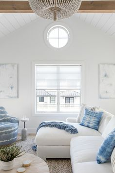 This amazing seaside retreat was designed by its owner Karen B. Wolf Interiors, located in Long Beach, California. Living Room Modern, Living Spaces, Living Rooms, Driftwood Dining Table, White Oak Kitchen, Garage Door Styles, Blue Backsplash, New House Plans, Ship Lap Walls