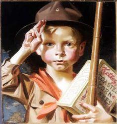 Boy Scout Kelloggs kid, by J.C. Leydendecker