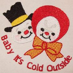 """""""Baby It's Cold Outside"""" A cute, Victorian themed, snow-person couple, all bundled up against the cold! You get 3 sizes for 4x4, 5x7 and 6x10 hoops!"""