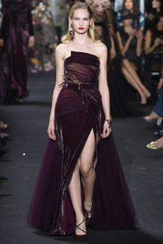 Rich Purple Strapless Evening Gown by Elie Saab, Look #33