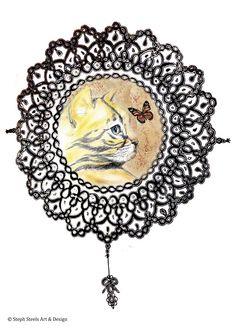 Mix media Savannah cat illustration and stencil print.